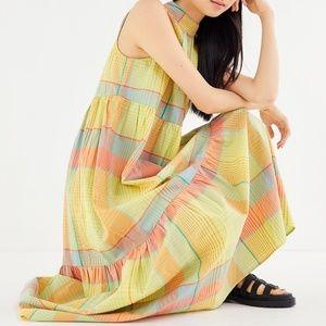 Urban Outfitters Greta Tiered Mock Neck Maxi Dress